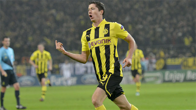 Robert Lewandowski's five goals have led Borussia Dortmund into the quarter-finals. The 24-year-old Polish national was a key factor in Dortmund's 5-2 defeat of Shakhtar Donetsk in the Round of 16.