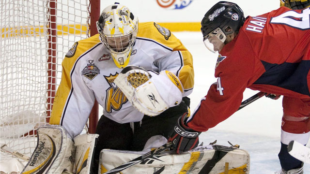 The host Brandon Wheat Kings made it to the final in 2010, but got destroyed by the high-powered Windsor Spitfires in the last game.  (CP/Frank Gunn)