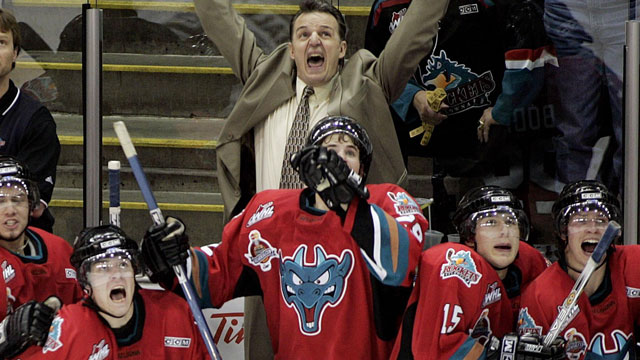 The high-powered Gatineau Olympiques were favoured, but Marc Habscheid's host Kelowna Rockets team came away with the cup in 2004. (CP/Jacques Boissinot)