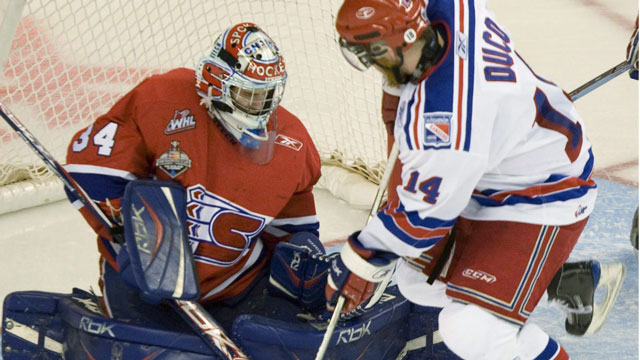 The powerful Kitchener Rangers were expected to win at home in 2008, but were felled by Dustin Tokarski and the Spokane Chiefs. (CP/Adrian Wyld)