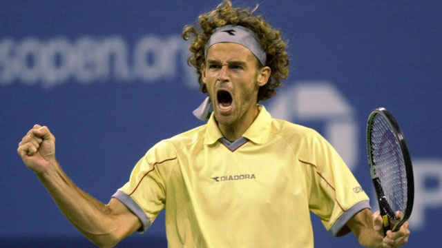 Brazilian Gustavo Kuerten took two thrilling finals' in a row in 2000 and 2001, beating Swede Magnus Norman and Spaniard Àlex Corretja, respectively. Kuerten also downed Sergi Bruguera of Spain in the 1997 final. (AP/Mark Lennihan)
