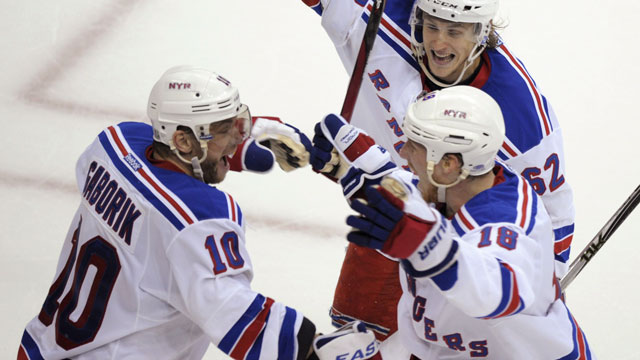 Marian Gaborik grabbed Game 3 for the New York Rangers in his club's second-round matchup in 2012 against the Washington Capitals at 14:41 of the 3rd overtime. (AP/Susan Walsh)
