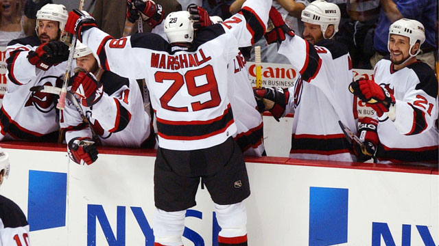 Grant Marshall clinched his New Jersey Devils' second-round series when he scored in Game 5 against the Tampa Bay Lightning in 2003 at 11:12 of the 3rd overtime. (AP/Charles Krupa)