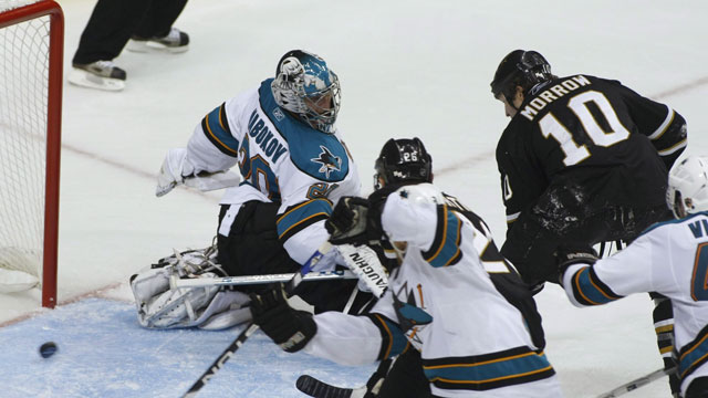Brenden Morrow of the Dallas Stars sent the San Jose Sharks packing in 2008, eliminating them with his second-round Game 6 winner at 9:03 of the 4th overtime. (AP/Sharon M. Steinman)