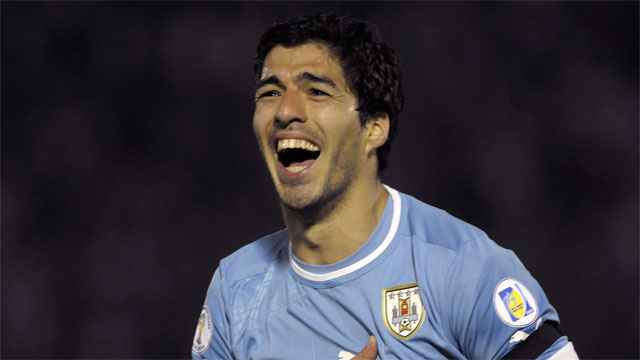 Luis Suarez has been the cause of plenty of turmoil back at his club of Liverpool in England, but the Uruguay striker is still among the world's most dangerous forwards. Give him half a chance, and you are likely to be punished. (AP/Matilde Campodonico)