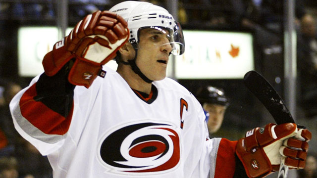 The Carolina Hurricanes signing of Ron Francis in the summer of 1998 solidified the clubs' leadership group as he helped lead the 'Canes to a surprise run to the final in 2002. His offensive production and experience were vital, creating a culture on the team that eventually led to a Cup in 2004 (though he was dealt to the Maple Leafs during that same season). (CP/Adrian Wyld)