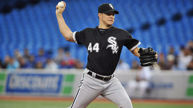 Jake Peavy of the struggling Chicago White Sox has a high price tag, yet the club has fielded much interested in the veteran right-hander (CP/Aaron Vincent Elkaim)