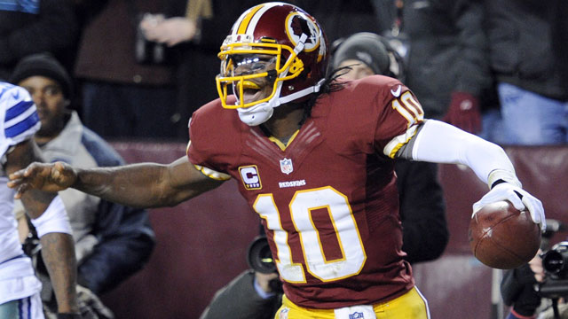 Robert Griffin III, the quarterback of the Washington Redskins, averaged 21.17 fantasy points-per-game (AP/Nick Wass)