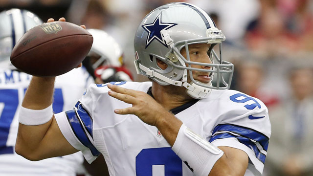 Tony Romo, the quarterback of the Dallas Cowboys, averaged 17.43 fantasy points-per-game (AP/Ross D. Franklin)