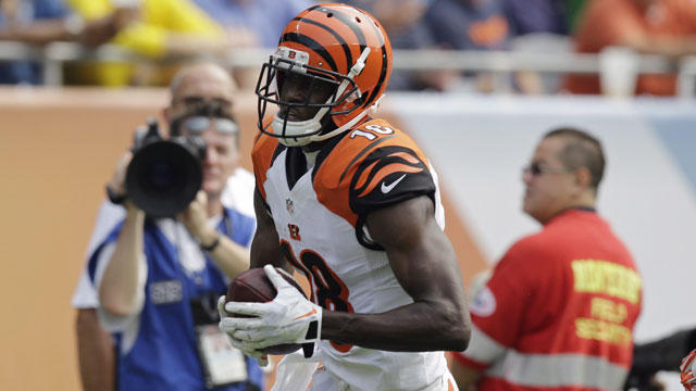 It was business as usual for the Cincinnati Bengals' A.J. Green, posting 162 yards and two touchdowns over nine receptions (AP/Nam Y. Huh)