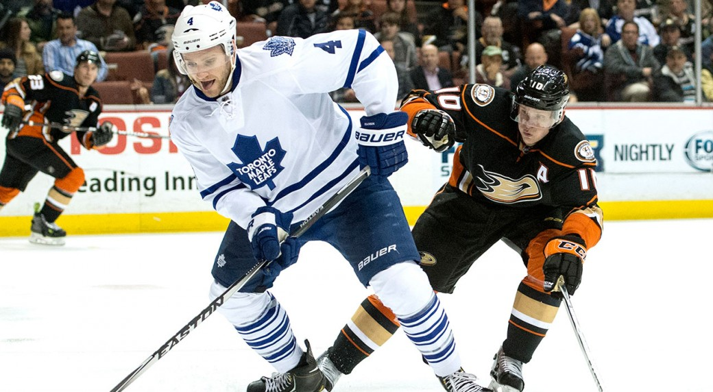 Cody-Franson;-Toronto-Maple-Leafs;-Corey-Perry;-Anaheim-Ducks