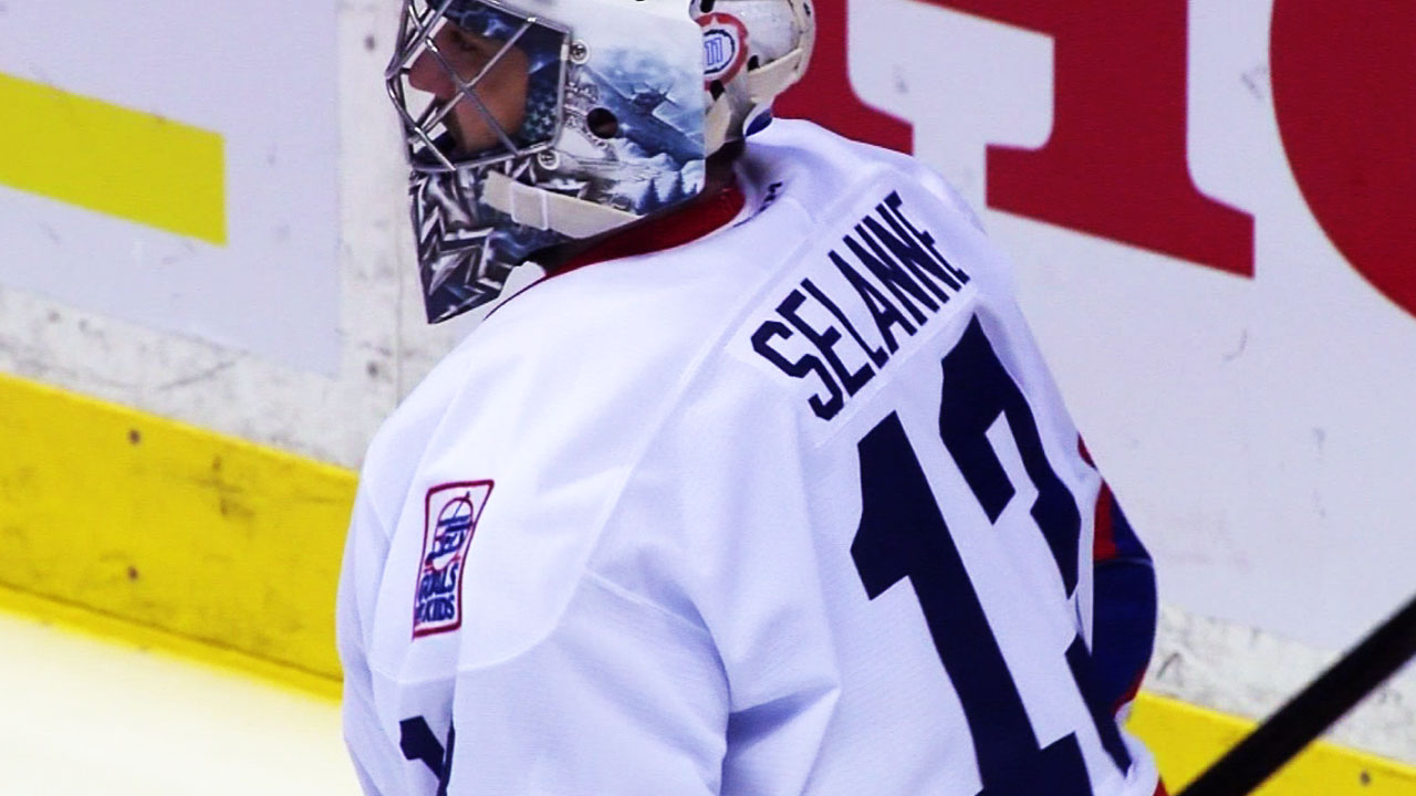 new style 9a4ff 8ba12 Gotta See It: Jets warm up in Selanne jerseys - Sportsnet.ca