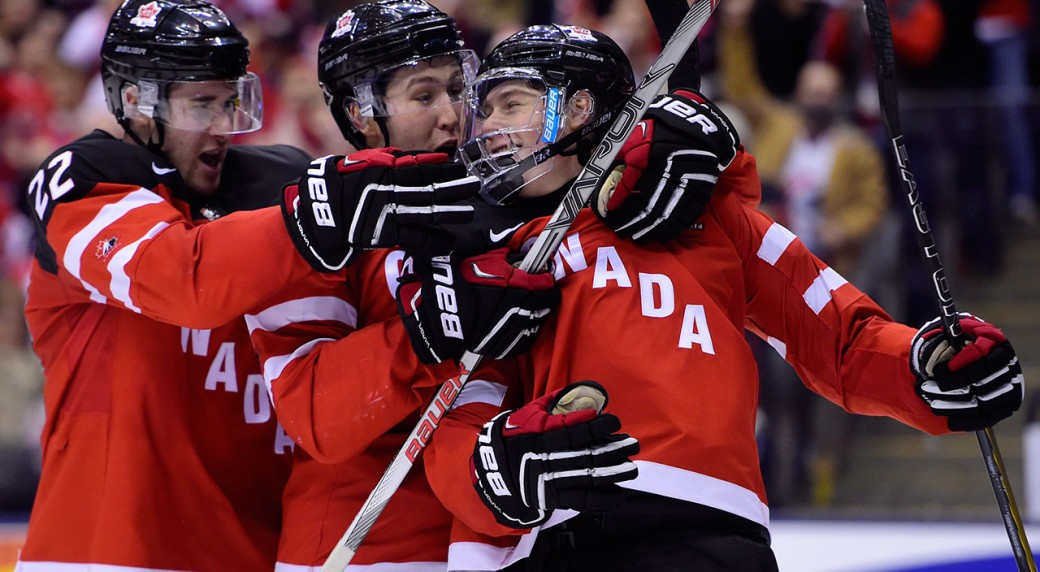 Lawson-Crouse;-Nick-Ritchie;-Fredrik-Gauthier;-Canada;-World-Junior-Championship