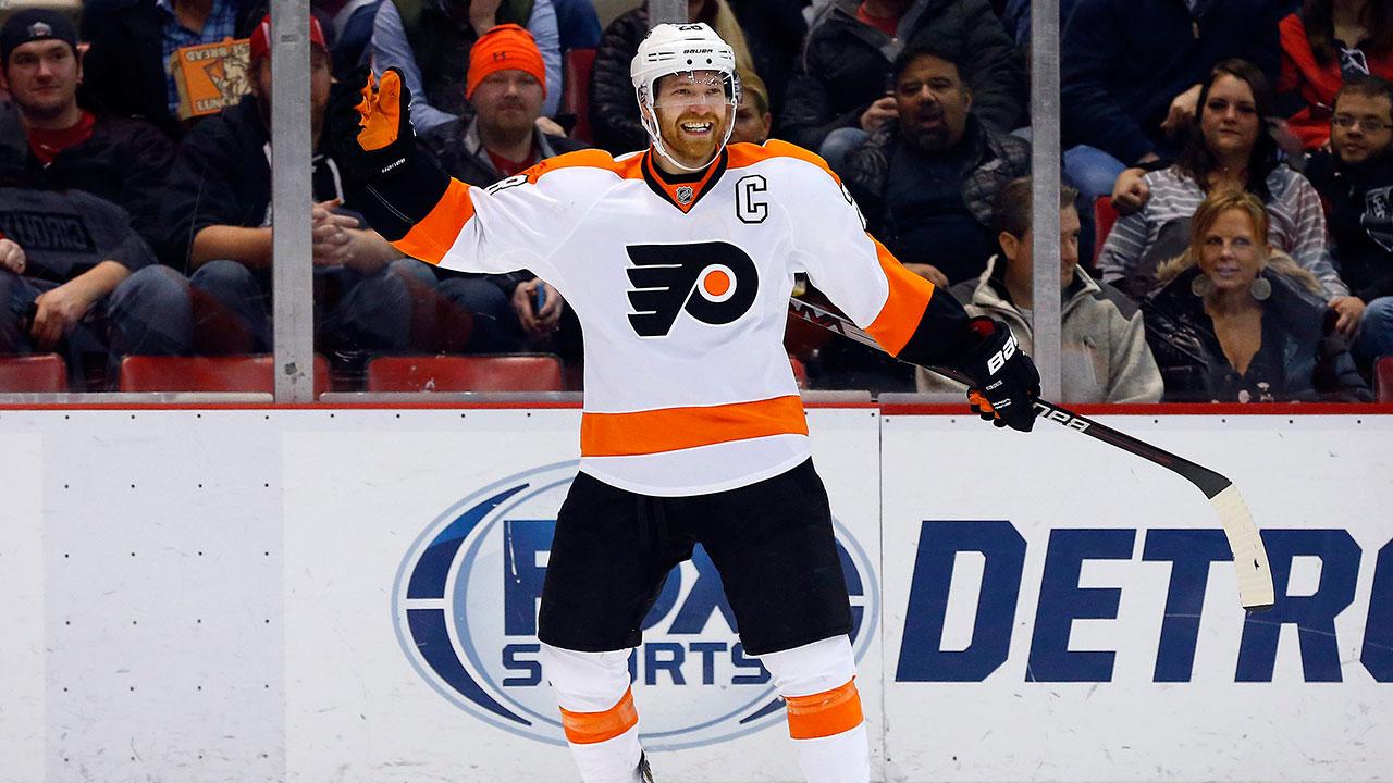 Philadelphia-Flyers-center-Claude-Giroux-(28)-celebrates-his-goal-against-the-Detroit-Red-Wings.-(Paul-Sancya/AP)