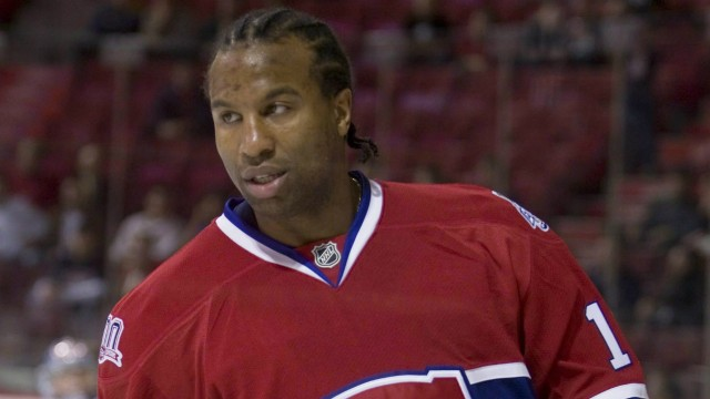 Montreal-Canadiens-Georges-Laraque-warms-up-before-the-home-opener-against-the-Boston-Bruins-in-Montreal-on-Oct.-15,-2008.-THE-CANADIAN-PRESS/Ryan-Remiorz