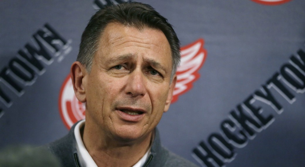 In-this-Wednesday,-May-20,-2015,-file-photo,-Detroit-Red-Wings-General-Manager-Ken-Holland-addresses-the-media-in-Detroit-to-discuss-the-head-coaching-vacancy-as-coach-Mike-Babcock-will-now-be-the-new-head-hockey-coach-with-the-Toronto-Maple-Leafs.-Goal-scoring-is-slipping-once-again-in-the-NHL.-Holland-said-the-decline-in-scoring-is-tied-to-an-uptick-in-competitive-balance.-(AP-Photo/Carlos-Osorio,-File)