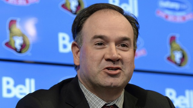 Pierre-Dorion-speaks-after-being-announced-as-the-next-general-manager-of-the-Ottawa-Senators,-Sunday-April-10,-2016,-in-Ottawa.-THE-CANADIAN-PRESS/Justin-Tang