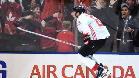 Team-Canada's-Brad-Marchand-(63)-celebrates-his-game-winning-goal-during-third-period-World-Cup-of-Hockey-finals-action-in-Toronto-on-Thursday,-September-29,-2016.-THE-CANADIAN-PRESS/Frank-Gunn
