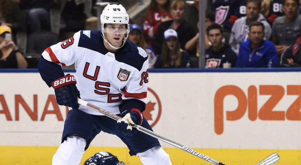 Team-Europe's-Roman-Josi-slides-to-block-a-shot-by-Team-USA's-Patrick-Kane-during-second-period-World-Cup-of-Hockey-action-in-Toronto-on-Saturday,-September-17,-2016.-THE-CANADIAN-PRESS/Nathan-Denette