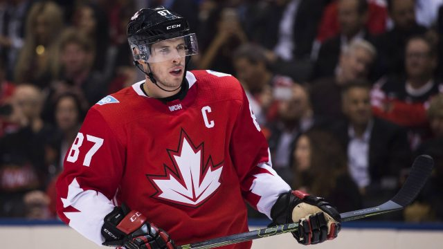 Team-Canada's-Sidney-Crosby-(87)-looks-up-ice-while-playing-against-team-Europe-during-second-period-World-Cup-of-Hockey-action-finals-in-Toronto-on-Tuesday,-September-27,-2016.-THE-CANADIAN-PRESS/Nathan-Denette