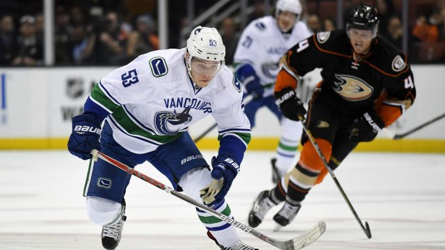 Vancouver-Canucks-center-Bo-Horvat,-left,-breaks-away-from-Anaheim-Ducks-defenseman-Cam-Fowler-on-his-way-to-a-short-handed-goal-during-the-first-period-of-an-NHL-hockey-game,-Sunday,-Oct.-23,-2016,-in-Anaheim,-Calif.-(AP-Photo/Mark-J.-Terrill)