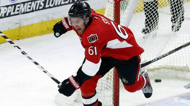 Ottawa-Senators'-Mark-Stone-(61)celebrates-his-goal-on-Los-Angeles-Kings-goalie-Peter-Budaj-during-third-period-NHL-hockey-action-in-Ottawa,-Friday,-November-11,-2016.-THE-CANADIAN-PRESS/Fred-Chartrand