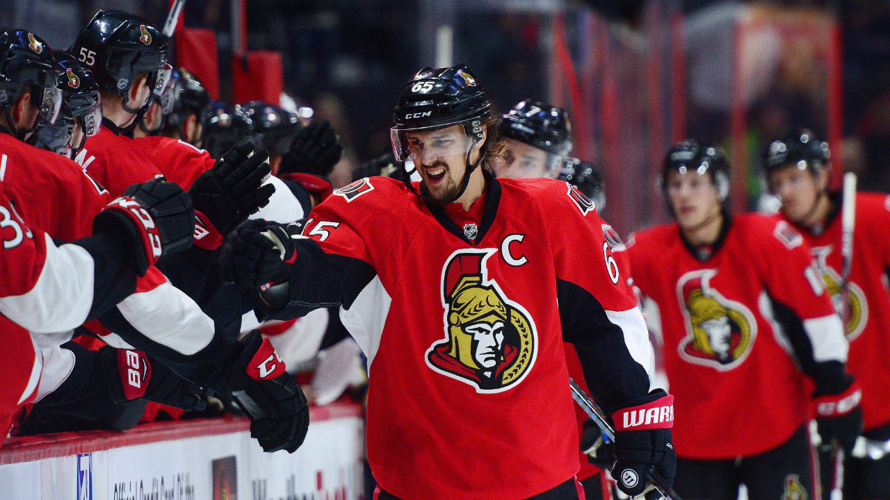 Ottawa-Senators-captain-Erik-Karlsson-celebrates-his-goal-with-the-bench-during-first-period-NHL-hockey-action-against-the-Florida-Panthers,-in-Ottawa-on-Saturday,-Dec.-3,-2016.-(Sean-Kilpatrick/CP)