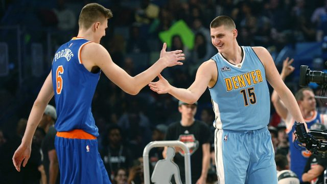 New-York-Knicks'-Kristaps-Porzingis-(6)-greets-Denver-Nuggets'-Nikola-Jokic-(15)-after-during-the-skills-competition-a-NBA-All-Star-Saturday-Night-in-New-Orleans,-Saturday,-Feb.-18,-2017.-(Gerald-Herbert/AP)