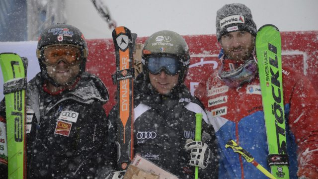 From-left:-Canada's-second-placed-Brady-Leman,-French-winner-Jean-Frederic-Chapuis-and-third-placed-Alex-Fiva-from-Switzerland-,-pose-after-the-men's-Ski-Cross-World-Cup-om-Feldberg-Mountain,-in-the-Black-Forest,-Germany,-Saturday-Feb.-4,-2017.-(Patrick-Seeger/dpa-via-AP)