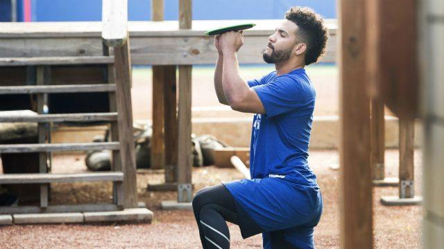 Toronto-Blue-Jays-second-baseman-Devon-Travis-works-out-prior-to-the-official-Blue-Jays-baseball-spring-training-in-Dunedin,-Fla.,-on-Monday,-February-13,-2017.-(Nathan-Denette/CP)