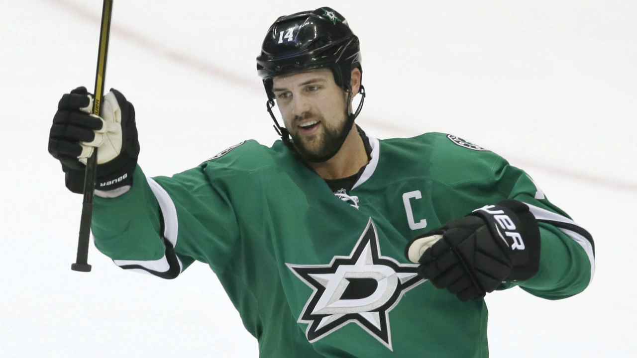 Dallas-Stars-left-wing-Jamie-Benn-celebrates-scoring-a-goal-in-overtime-of-the-team's-NHL-hockey-game-against-the-Tampa-Bay-Lightning-in-Dallas,-Saturday,-Feb.-18,-2017.-The-Stars-won-4-3.-(LM-Otero/AP)