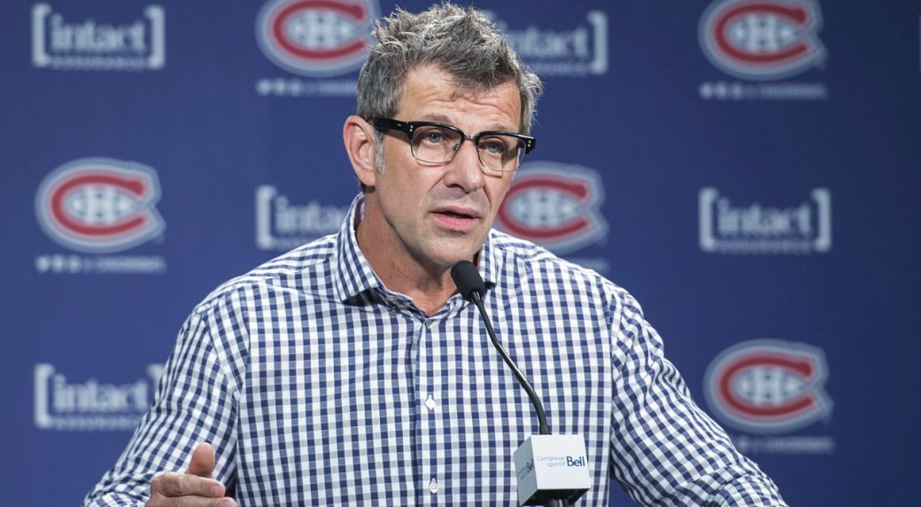 Montreal-Canadiens-General-Manager-Marc-Bergevin-speaks-to-reporters-in-Brossard,-Que.,-Wednesday,-June-29,-2016,-where-he-answered-questions-regarding-the-trade-of-P.K.-Subban-to-the-Nashville-Predators.-(Graham-Hughes/CP)