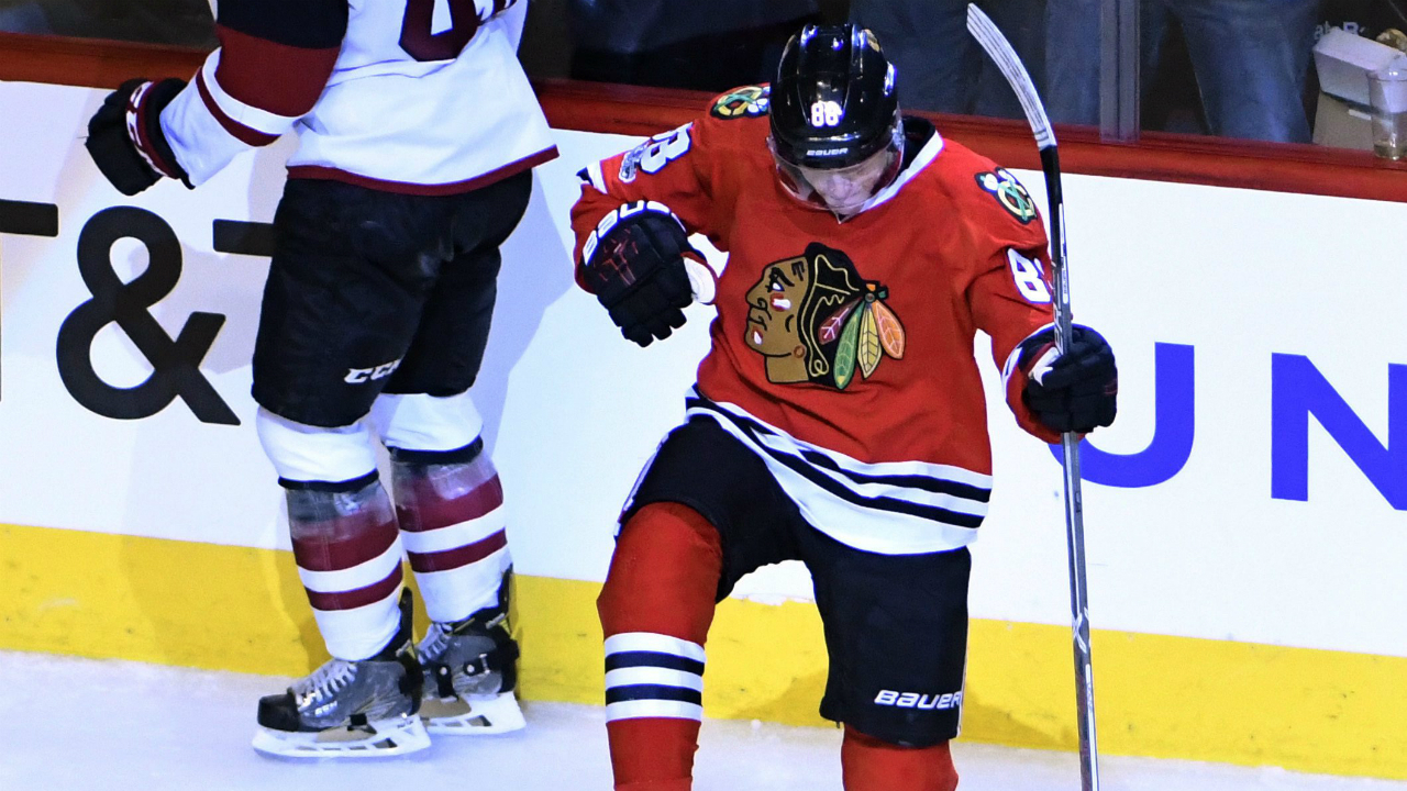Chicago-Blackhawks-right-wing-Patrick-Kane-(88)-celebrates-his-goal-against-the-Arizona-Coyotes-during-the-third-period-of-an-NHL-hockey-game-Thursday,-Feb.-23,-2017,-in-Chicago.-The-Blackhawks-won-6-3.-(David-Banks/AP)