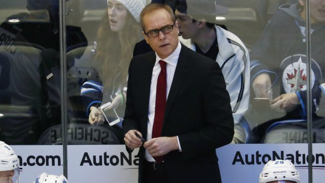 Winnipeg-Jets-head-coach-Paul-Maurice-looks-on-against-the-Colorado-Avalanche-in-the-first-period-of-an-NHL-hockey-game-Saturday,-Feb.-4,-2017,-in-Denver.-(David-Zalubowski/AP)
