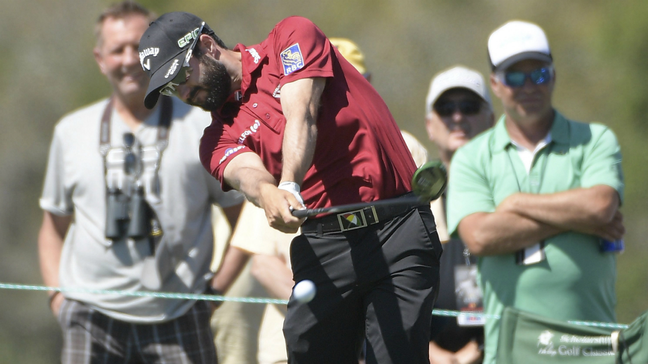 Adam-Hadwin,-of-Canada,-tees-off-on-the-eighth-hole-during-the-third-round-of-the-Arnold-Palmer-Invitational-golf-tournament-in-Orlando,-Fla.,-Saturday,-March-18,-2017.-(Phelan-M.-Ebenhack/AP)