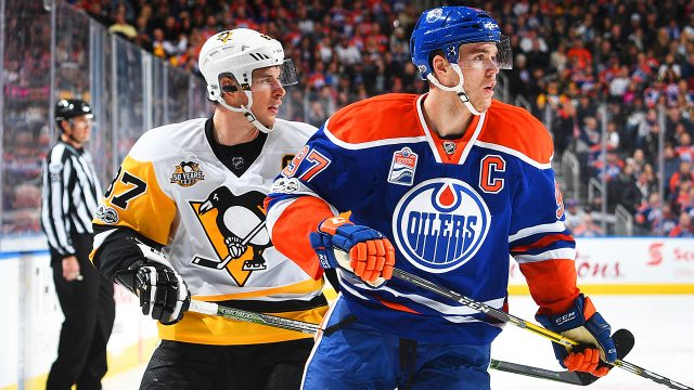 Hart-Trophy-candidates-Sidney-Crosby-and-Connor-McDavid.-(Andy-Devlin/Getty)