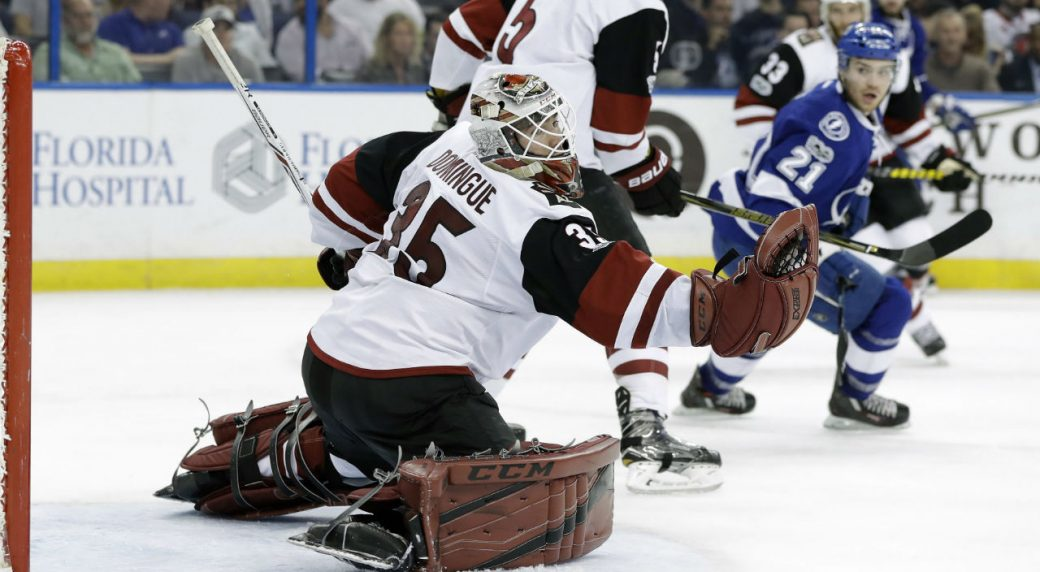 Arizona-Coyotes-goalie-Louis-Domingue-(35)-makes-a-glove-save-on-a-shot-by-Tampa-Bay-Lightning-center-Brayden-Point-(21)-during-the-second-period-of-an-NHL-hockey-game-Tuesday,-March-21,-2017,-in-Tampa,-Fla.-(Chris-O'Meara/AP)