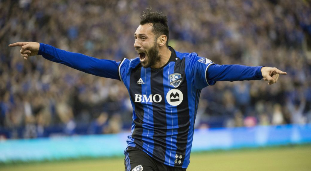 Montreal-Impact-forward-Matteo-Mancosu-celebrates-his-goal-against-Toronto-FC-during-first-half-action-in-the-first-leg-of-the-MLS-Eastern-Conference-final-at-the-Olympic-Stadium-Tuesday,-November-22,-2016-in-Montreal.-(Paul-Chiasson/CP)