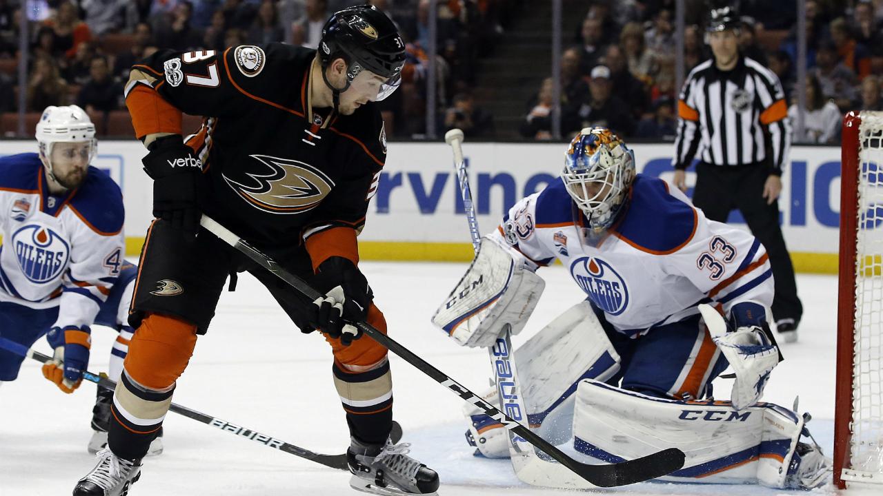 Anaheim-Ducks-left-wing-Nick-Ritchie-(37)-takes-a-shot-against-Edmonton-Oilers-goalie-Cam-Talbot-(33)-during-the-second-period-of-an-NHL-hockey-game-in-Anaheim,-Calif.,-Wednesday,-March-22,-2017.-(Alex-Gallardo/AP)