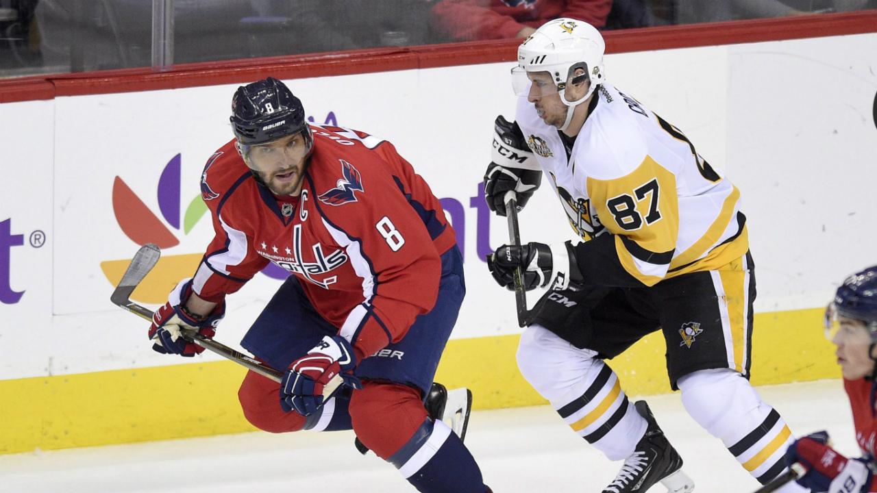 Washington-Capitals-left-wing-Alex-Ovechkin-(8),-of-Russia,-skates-ahead-of-Pittsburgh-Penguins-centre-Sidney-Crosby-(87)-during-the-second-period-of-an-NHL-hockey-game,-Wednesday,-Jan.-11,-2017,-in-Washington.-(Nick-Wass/AP)