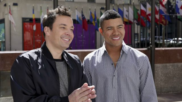 "In-this-Tuesday,-April-18,-2017-photo-provided-by-NBC,-host-Jimmy-Fallon,-left,-speaks-Spanish-with-Jose-Quintana-on-""The-Tonight-Show-Starring-Jimmy-Fallon,""-in-New-York.-Quintana-returned-a-big-favor-to-Fallon-on-Tuesday-night.-The-Chicago-White-Sox-left-hander-appeared-on-the-show,-teaching-the-late-night-host-a-few-Spanish-phrases---some-more-useful-than-others---as-a-thank-you-for-Fallon's-role-in-Quintana-picking-up-English.-(Andrew-Lipovsky/NBC-via-AP)"