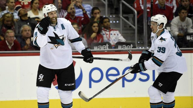 San-Jose-Sharks-centre-Joe-Thornton-(19)-celebrates-his-goal-with-Logan-Couture-(39).-(Nick-Wass/AP)
