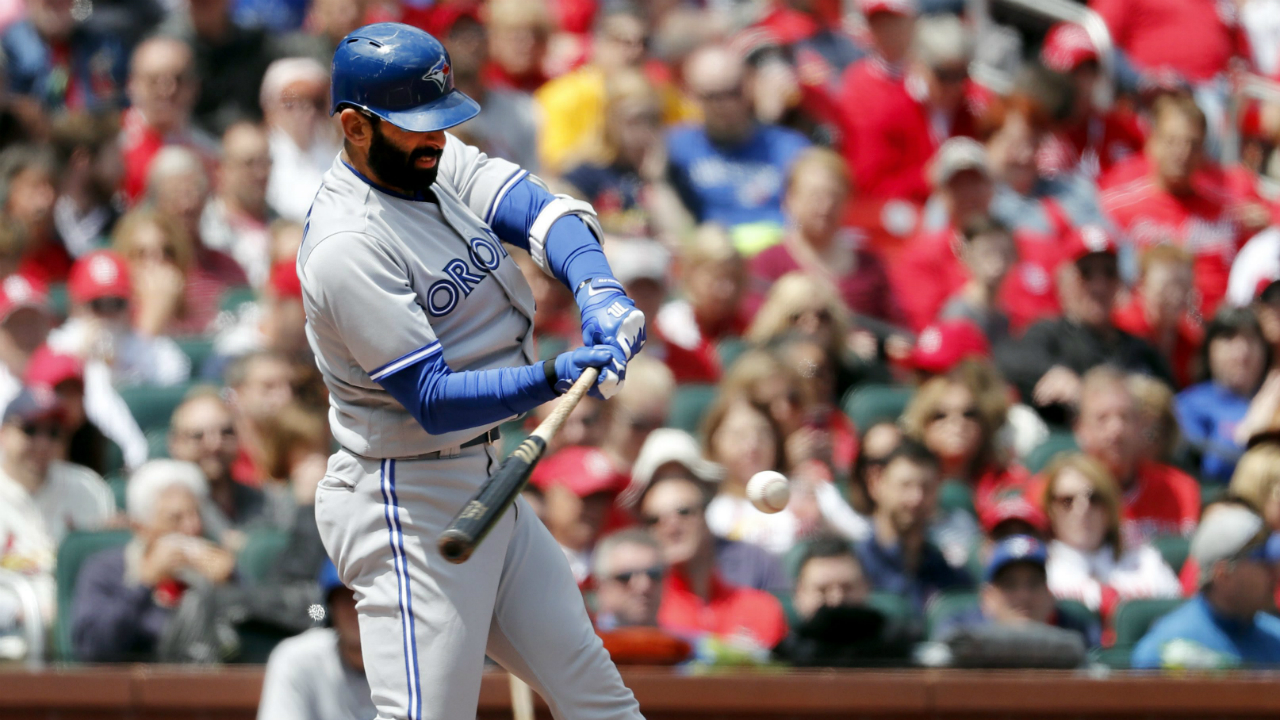 Toronto-Blue-Jays'-Jose-Bautista-singles-during-the-third-inning-in-the-first-game-of-a-baseball-doubleheader-against-the-St.-Louis-Cardinals-Thursday,-April-27,-2017,-in-St.-Louis.-(Jeff-Roberson/AP)