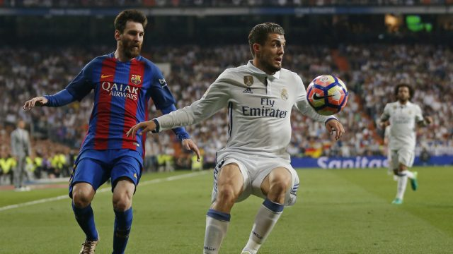 Real-Madrid's-Mateo-Kovacic,-right,-controls-the-ball-in-front-of-Barcelona's-Lionel-Messi-during-a-Spanish-La-Liga-soccer-match-between-Real-Madrid-and-Barcelona,-dubbed-'el-clasico',-at-the-Santiago-Bernabeu-stadium-in-Madrid,-Spain,-Sunday,-April-23,-2017.-(Daniel-Ochoa-de-Olza/AP)