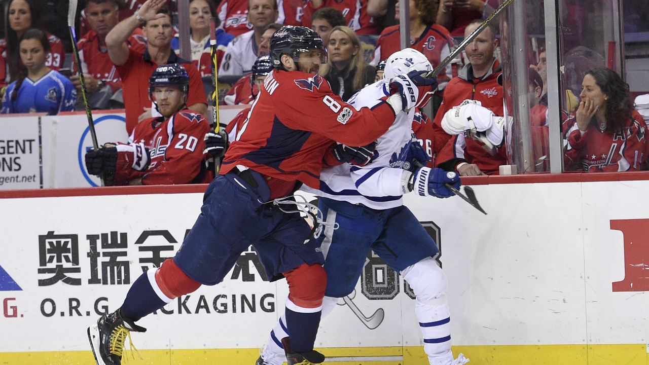 Washington-Capitals-left-wing-Alex-Ovechkin-(8),-of-Russia,-shoves-Toronto-Maple-Leafs-defenseman-Nikita-Zaitsev-(22),-also-of-Russia,-during-the-second-period-of-Game-5-in-an-NHL-Stanley-Cup-hockey-first-round-playoff-series,-Friday,-April-21,-2017,-in-Washington.-(Nick-Wass/AP)