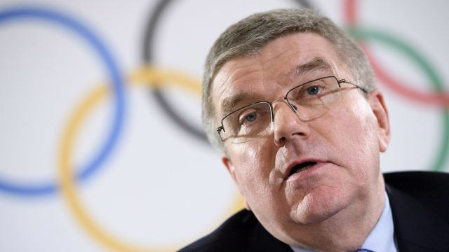 International-Olympic-Committee-(IOC)-president-Thomas-Bach.-(Laurent-Gillieron/Keystone-via-AP,-File)