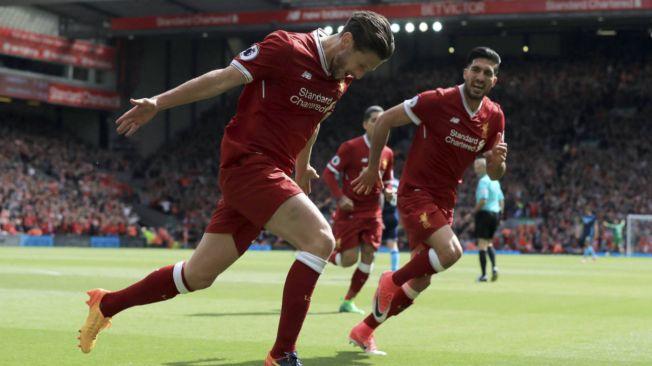 Liverpool's-Adam-Lallana-celebrates-scoring-against-Middlesbrough-during-the-English-Premier-League-soccer-match-at-Anfield,-Liverpool,-England,-Sunday-May-21,-2017.-(Peter-Byrne/PA-via-AP)