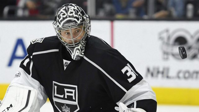 Los-Angeles-Kings-goalie-Ben-Bishop-watches-the-puck-after-defecting-it-during-the-third-period-of-the-team's-NHL-hockey-game-against-the-Winnipeg-Jets,-Thursday,-March-23,-2017,-in-Los-Angeles.-The-Kings-won-5-2.-(Mark-J.-Terrill/AP)