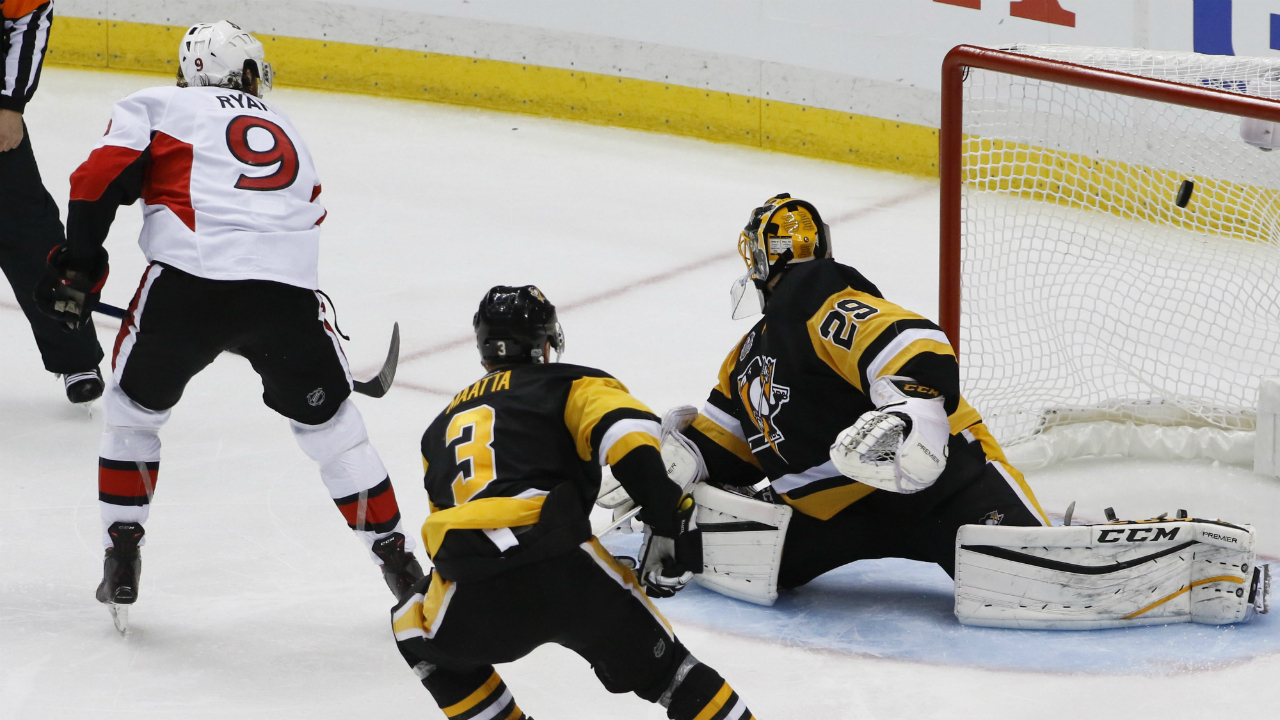 Ottawa-Senators'-Bobby-Ryan-(9)-scores-[ast-Pittsburgh-Penguins-goalie-Marc-Andre-Fleury-(29)-after-getting-by-Olli-Maatta-(3)-during-the-overtime-period-of-Game-1-of-the-Eastern-Conference-final-in-the-NHL-hockey-Stanley-Cup-playoffs,-Saturday,-May-13,-2017,-in-Pittsburgh.-Ottawa-won-2-1-in-overtime.-(Gene-J.-Puskar/AP)