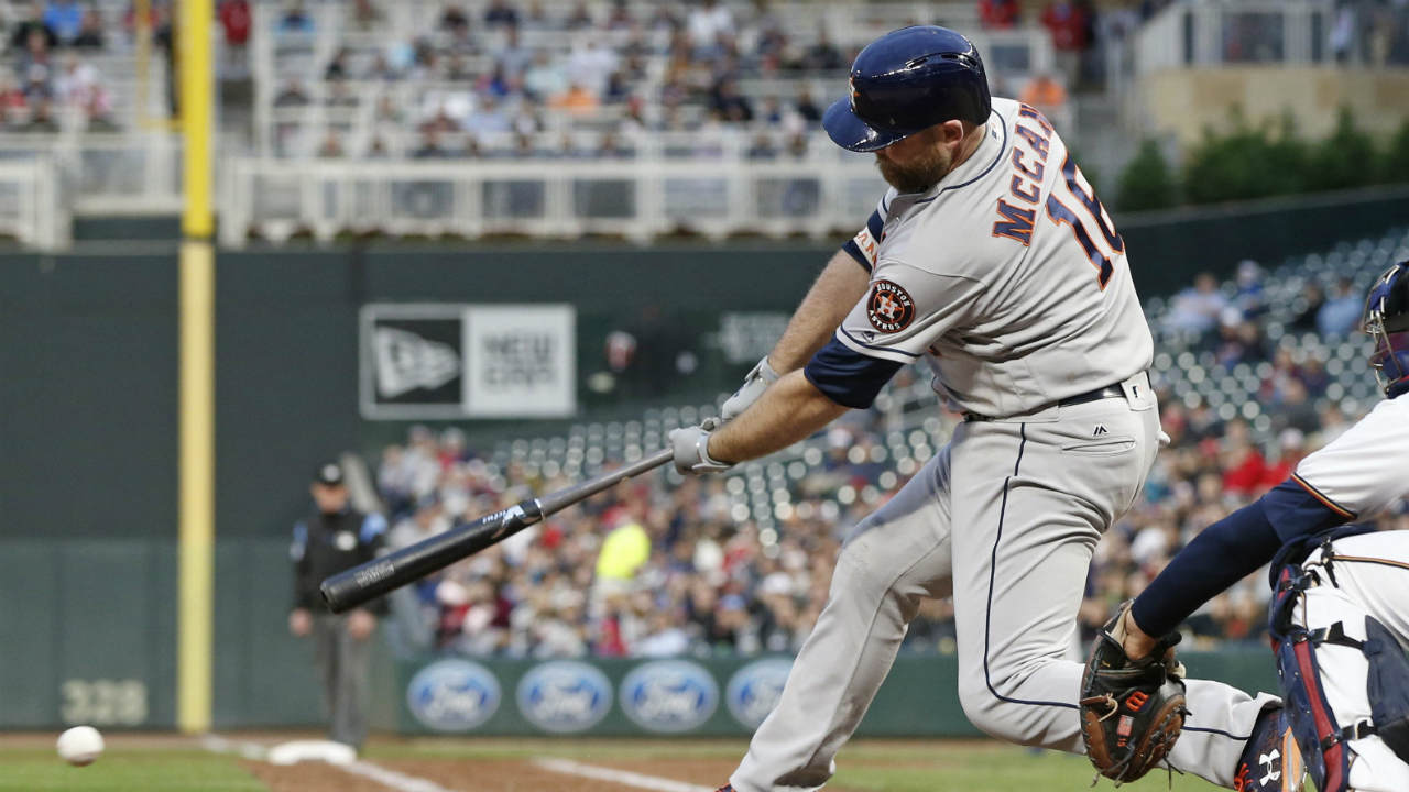 Houston-Astros'-Brian-McCann-hits-into-a-double-play-scoring-Jose-Altuve-from-third-base-in-the-fourth-inning-of-a-baseball-game-against-the-Minnesota-Twins-Tuesday,-May-30,-2017-in-Minneapolis.-(Jim-Mone/AP)
